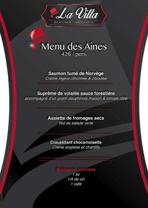 Menu des Ainés