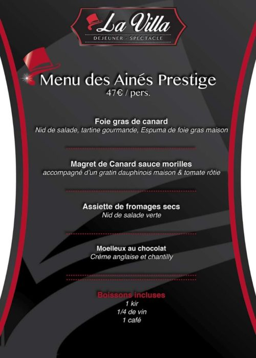 Menu des Ainés Prestige